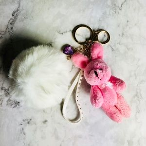 New! Pink Rabbit Faux Fur Pom Pom Keychain Keyfob